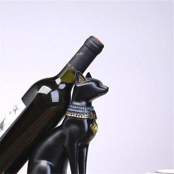 VILEAD 25cm Resin Egyptian Cat God Wine Bottle Holder Figurines Nordic Simple Animals Wine Rack Home Decoration Accessories Gift