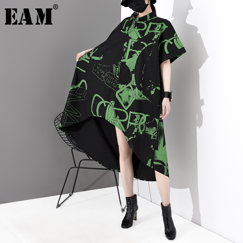 [EAM] Women Pattern Printed Back Long Big Size Shirt Dress New Lapel Short Sleeve Loose Fit Fashion Spring Autumn 2020 1S040