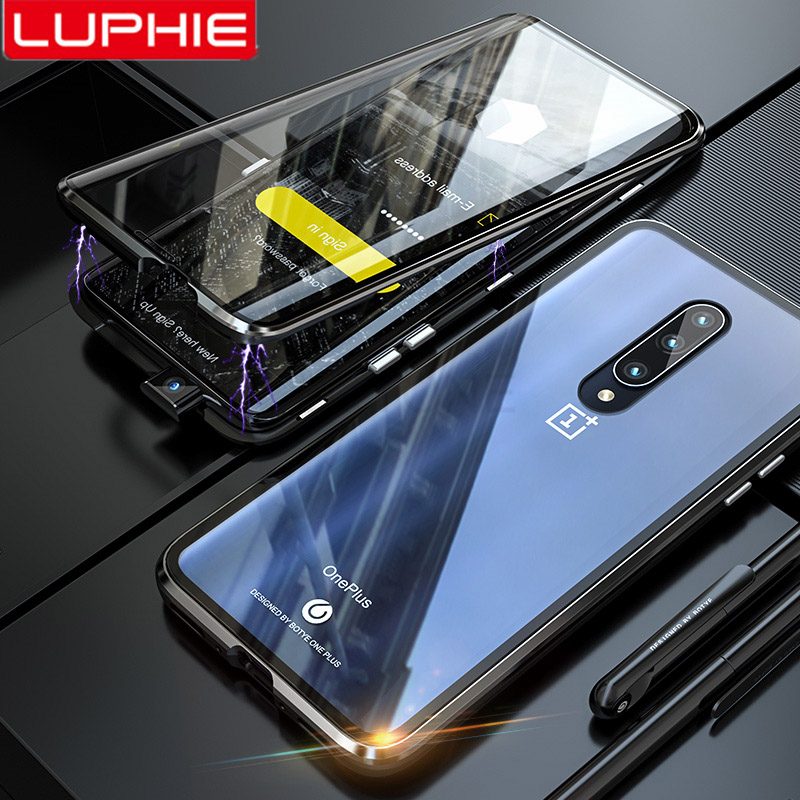 Luphie Full Wrapped Cover Case For Oneplus 7 Pro Magnetic One Plus Front+Back 9H Tempered Glass Phone