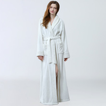 Soft Flannel Coral Fleece Lovers Dress Men Women #8217 s Warm Super Long Bath Robe Mens Kimono Bathrobe Dressing Gown Robes cheap Polyester Winter Solid Mid-Calf Full