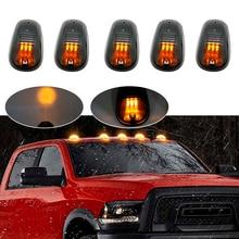 5 sztuk Amber LED Cab na dachu Marker światła do jazdy dla Truck SUV 4x4 (czarne lampy przydymione soczewki)