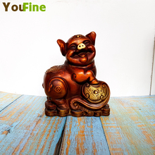 Bronze pure copper Ruyi pig stepping on the ingot Chinese element wealth pig study living room porch wedding decorations born lucky money hangs on the authentic burma stone ruyi fall bat 1