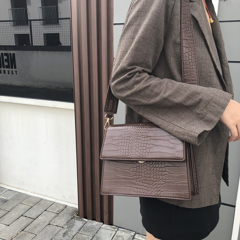 Luxury Handbag Women Bag Designer High Quality Alligator PU Leather Organ Shoulder Crossbody Bag Vintage Crocodile Messenger Bag