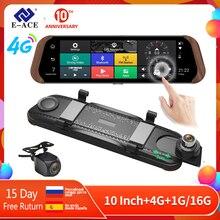 цена на E-ACE Car Dvr Stream RearView Mirror Camera 4G Android FHD 1080P 10 Inch Dual Lens ADAS Video Recorder Auto Registrar Dashcam