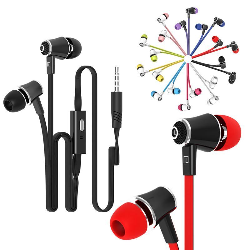 3,5mm In Ohr Kopfhörer Nudel Kabel JM21 Verdrahtet Ohrhörer High Definition bunte Kopfhörer Für Xiaomi Huawei Honor Iphone TXTB1