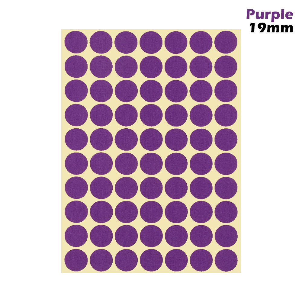 1 лист 10 мм/19 мм цветные наклейки в горошек круглые круги точки бумажные клеящиеся этикетки офисные школьные принадлежности - Цвет: purple 19mm