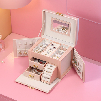 2020 Luxury Jewelry Box Organizer Large PU Leather Drawer Jewellery Earring Ring Necklace Storage Case