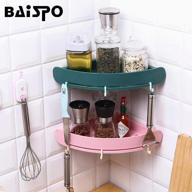 BAISPO Bathroom Storage Shelf Rack Wall-mounted Punch-free Waterproof Floating Shelf Kitchen Storage Bathroom Accessories Sets