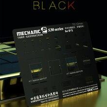 Механик С30 0.12 мм BGA реболлинга трафарет черная стальная сетка для iPhone хз/Макс/ХС/х/8П/8 ГБ/7/7П/6С/6/5/5С чип точности квадратное отверстие