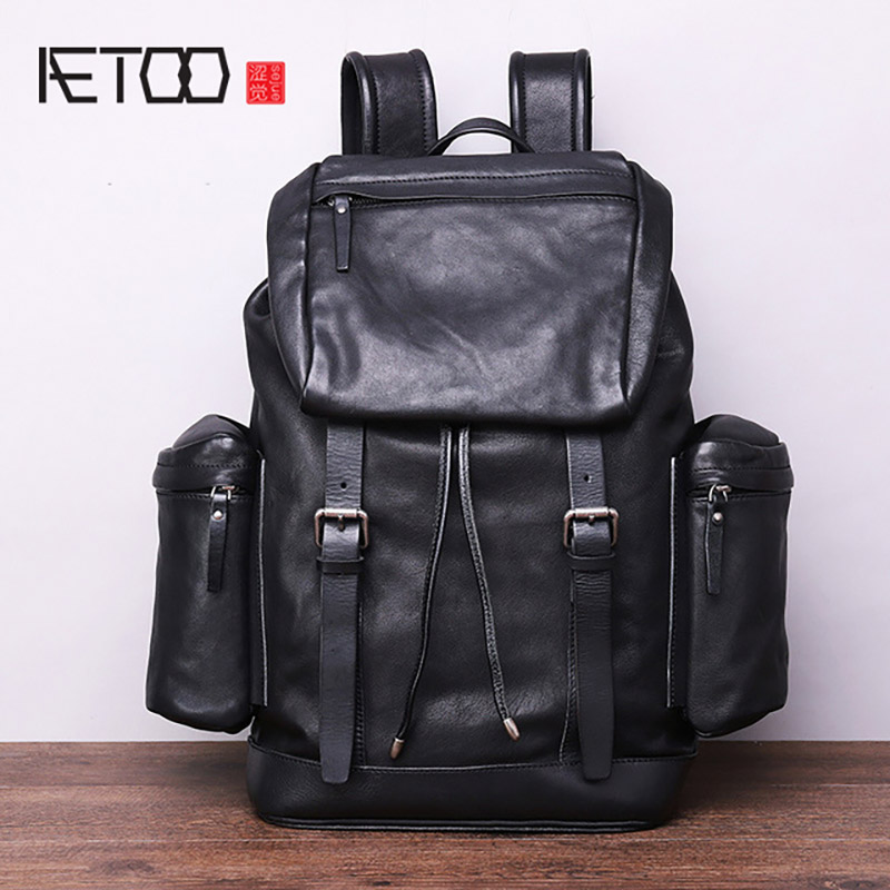 AETOO Men's leather anti-theft backpack, top leather sports climbing bag, outdoor travel bag