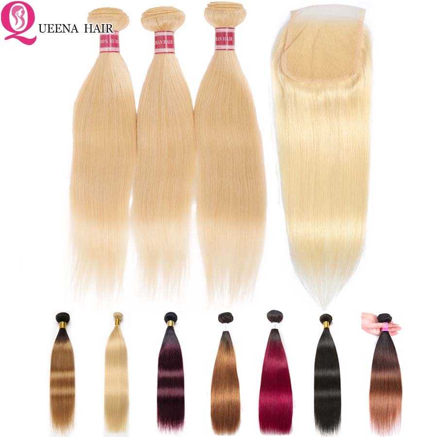 Straight Ombre Bundles With Closure 1B/27 613 Blonde Bundles With Closure Brazilian Hair Weave Bundles Remy Human Hair Extension