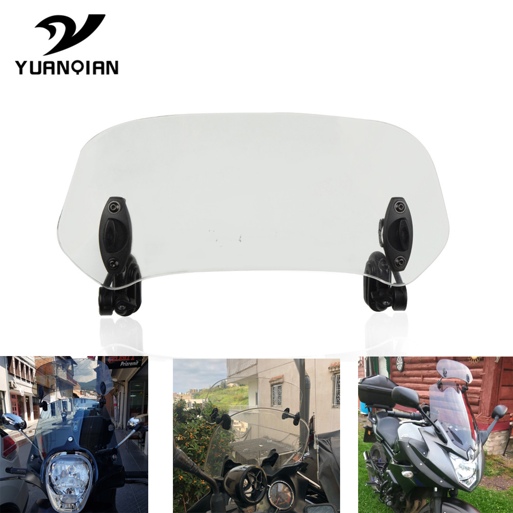 Universal Motorcycle Risen Adjustable Wind Screen Windshield Spoiler Air Clip On Windscreen <font><b>Deflector</b></font> FOR HONDA <font><b>NC750X</b></font> MT 2015 image