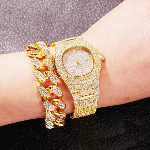 Collar, reloj y pulsera para hombre, cadena cubana de Miami, Color dorado con diamantes de imitación incrustados, joyería de rapero ostentosa CZ, 3 uds. 5