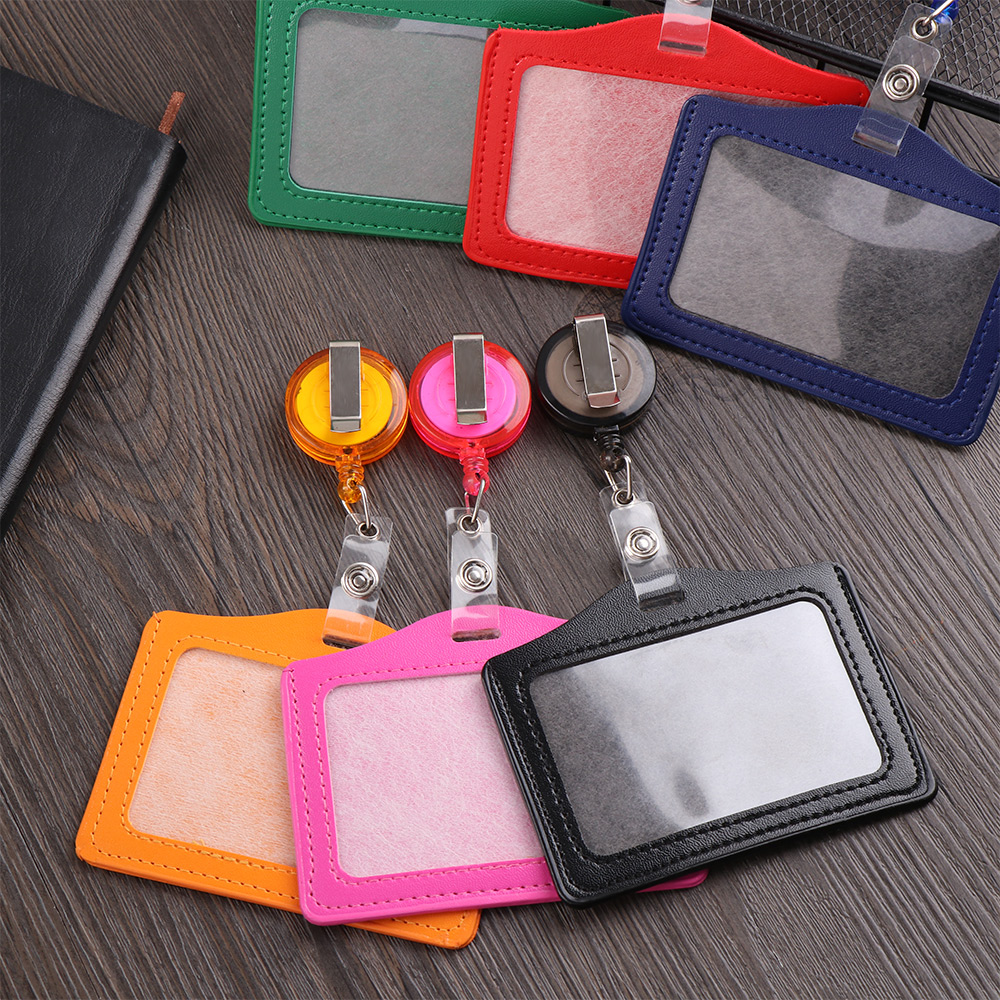 1PC ID Card Holder Badge Case Credit Card Holders PU Card Bus ID Holders Identity Badge with Retractable Reel Protective Shell
