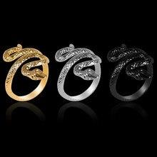 Nova venda quente anel de cobra abertura ajustável liga de zinco preto animal anel moda homens e mulheres mãos decorado jóias presentes