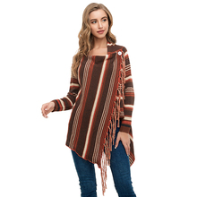 2019 New Fashion Long Sleeve Cardigan Women Loose Sweater Knitted Stripe Asymmetrical Collarless Outwear Autumn Female Sweaters