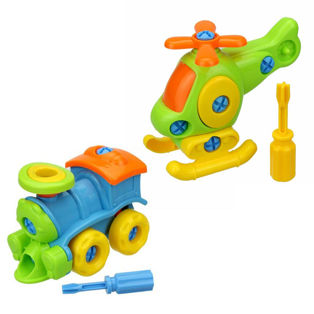 Children's Puzzle Disassembly Aircraft Disassembly And Assembly Of Small Train Toys Cartoon Assembled Car Baby Toys