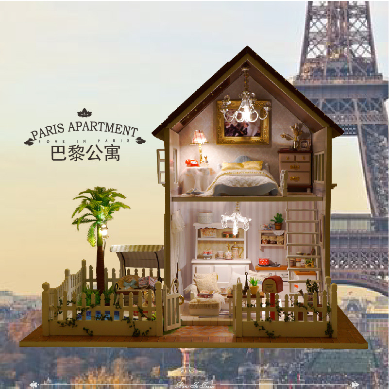 Assembling DIY Miniature Model Kit Wooden Doll House Paris Apartment Dollhouse Toys With Furniture Building Gift Free Shipping 1