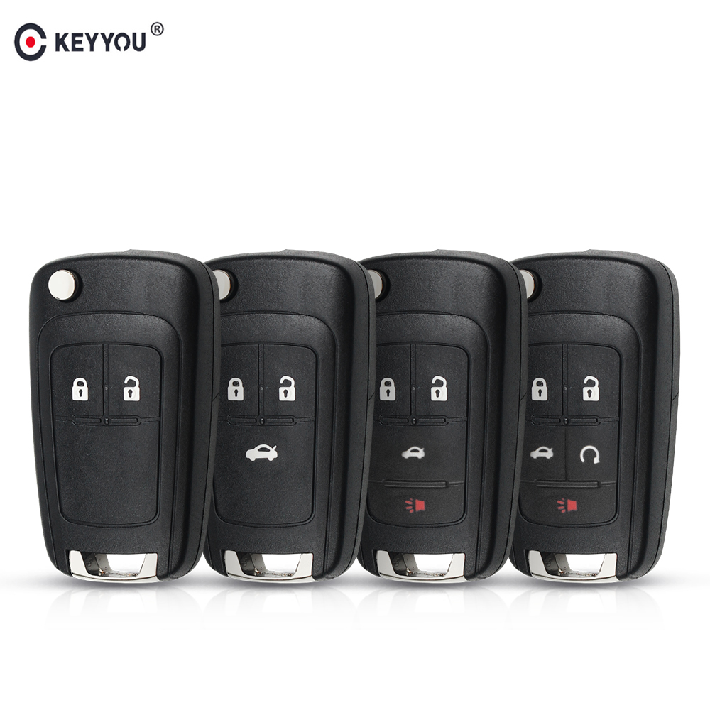 KEYYOU 2/3/4/5 Buttons Flip Folding Remote Key Shell For Chevrolet Cruze Lova Sail Aveo Key Case With HU100 Blade
