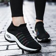 Frauen Tennis Schuhe Atmungsaktive Mesh Höhe zunehmende Slip auf Weibliche Socke Schuhe Outdoor Frauen Turnschuhe Dicken Sport Schuhe frau