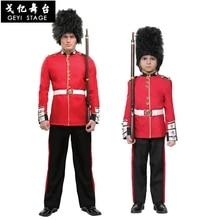 Traje de halloween para crianças britânico guarda real uniforme meninos cosplay traje soldado americano uniforme festa desempenho