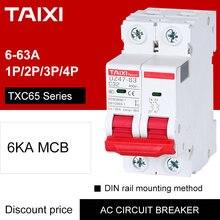 Interruptor de circuito para el hogar, miniprotector de circuito TAIXI, interruptor maestro de fusible 2P 10A 16A 25A 32A AC 220V 230V 240V, CE CB MCB TX C65 6KA