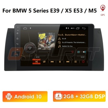 Quad Core 1 Din 9 Inch IPS DSP Android 10 Car NON DVD Player GPS Navigation For  BMW X5 E53 E39 Support DAB+ OBD TPMS SWC