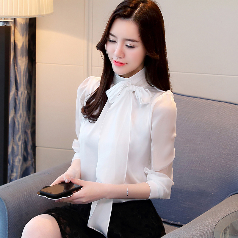 2021 New Summer Fashion Tunic Women Blouse Shirts Long Sleeve Tie Bow Chiffon Turtleneck Formal Women White Black Shirts 0599 30 3