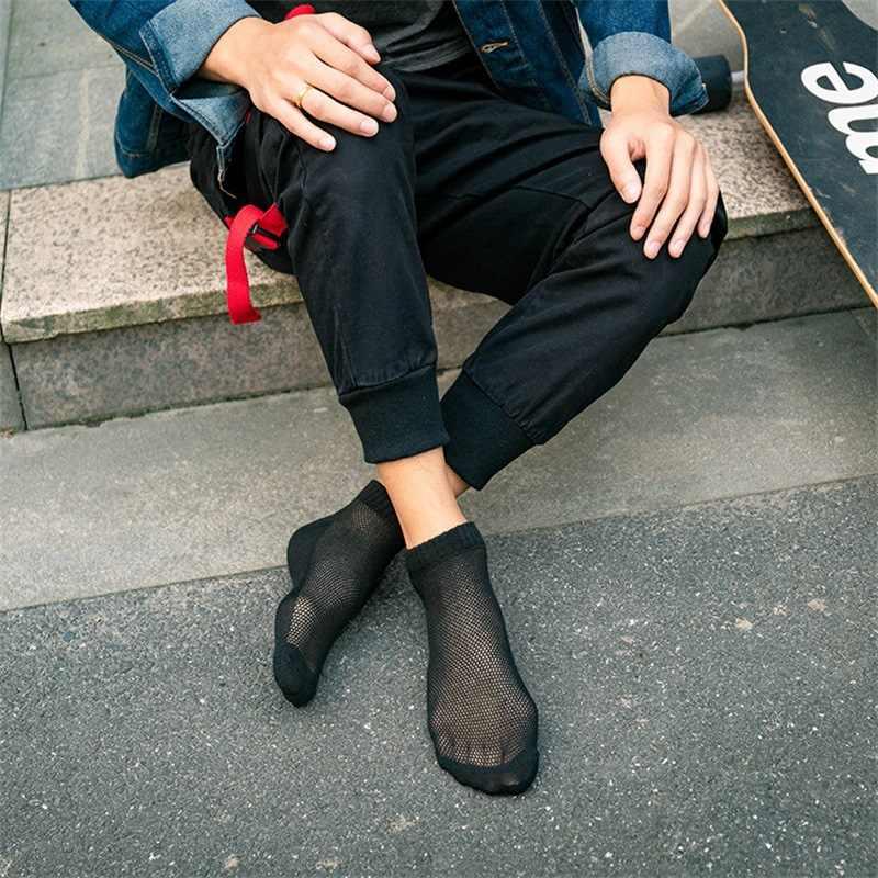 20 pcs = 10 pair 통기성 남성 양말 짧은 발목 양말 남성 솔리드 메쉬 고품질 남성 보트 양말 뜨거운 판매 2020 뜨거운