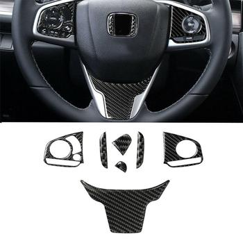 4 Pcs Carbon Fiber Inner Steering Wheel Stickers Trim Fit for Honda Civic 10th 2016-19 Cover Car Interior Accessories Universal image