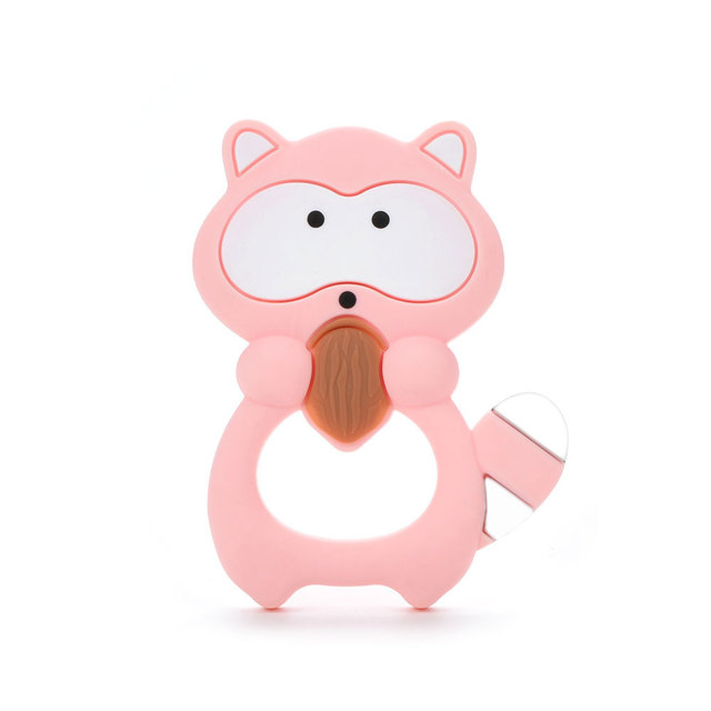 LOFCA 1pc Baby Silicone Teether Popcorn Fruit Animal Pendant Toy BPA Free Food Grade Silicone Teething  Baby Chew Nursing Gift