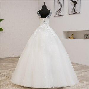 Image 2 - Fashion Classic simple V Neck Wedding Dresses Vestidos de novia Sweet Lace Applique elegant Girls Gowns Robe De Mariage 2019  8