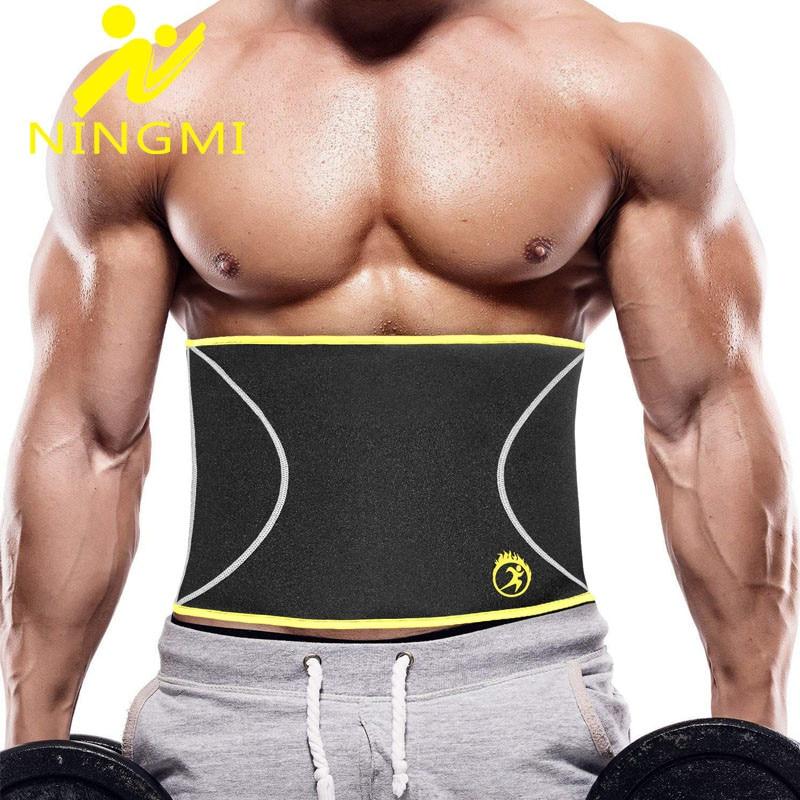 NINGMI Slim Waist Trainer Body Shaper For Mens Neroprene Waist Cincher Shapewear Weight Loss Strap Slimming Modeling Belt Corset