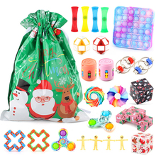 New Christmas Fidget Stress Relif Toys Set For Children Push Bubble Fidger Spinner Stress Relief Cube Antistress Sensory Gift