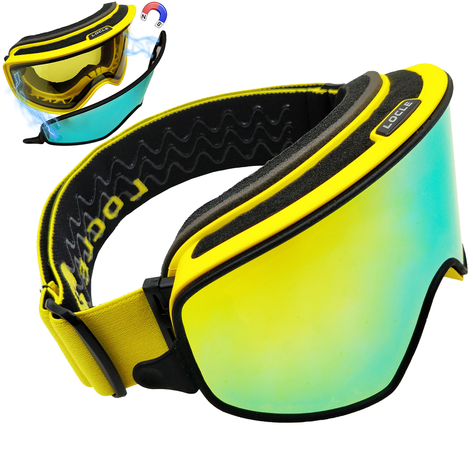 LOCLE Ski Goggles 2 IN 1 With Magnetic Dual-use For Night Ski Eyewear Anti-fog UV400 Ski Snowboard Goggles Men Women Ski Glasses
