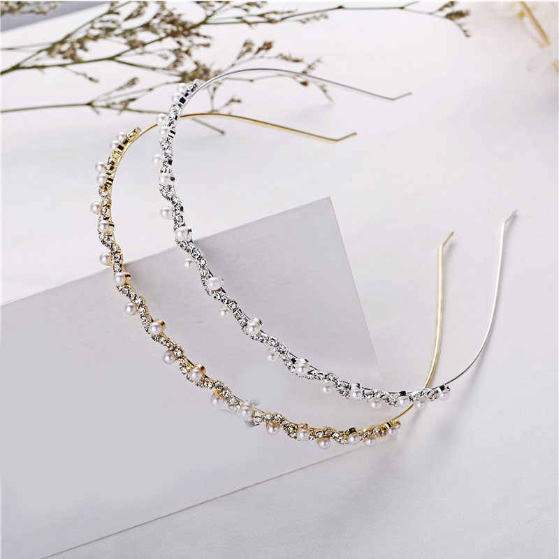 2019 New Crystal Rhinestone Pearls Wave Headband Women Bridal Wedding Hair Accessories Stretch Hairbands Hair Hoop Girl Headwear