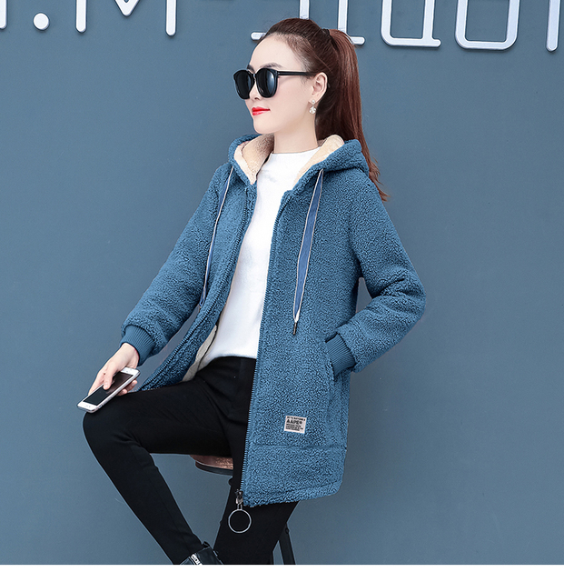 2019 Winter Faux Fur Teddy Coat Women Fashion hooded Add velvet to thicken zipper jacket fashionable and casual plus-size coat 4