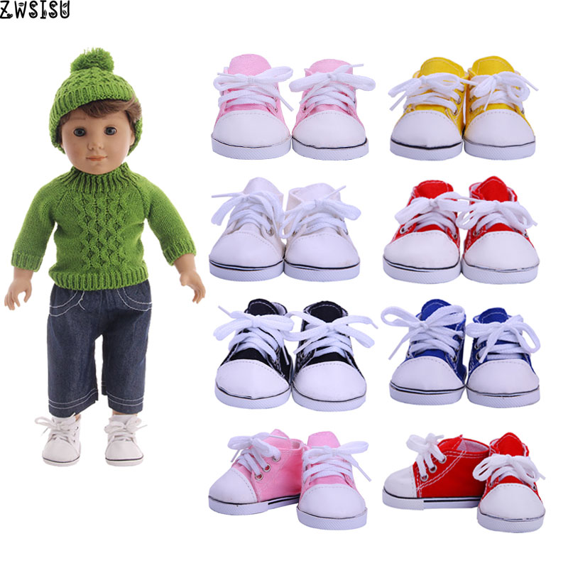 ZWSISU Handmade Doll Shoes 15Colors Canvas Shoes For 18 Inch American Doll & 43 Cm Baby Logan Doll For Our Generation Girl`s Toy