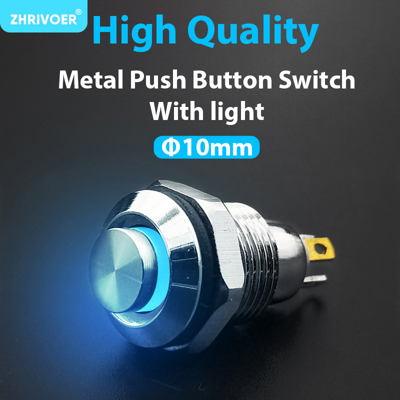 1pc 10mm With LED Indicator Self-reset Momentary Self-locking Latching Metal Push Button Switch 4pins High Head 3v5v12v24v220v