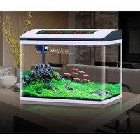 Aquarium fish tank small desktop glass free water exchange led aquarium fish tank with pump thermometer plant sand