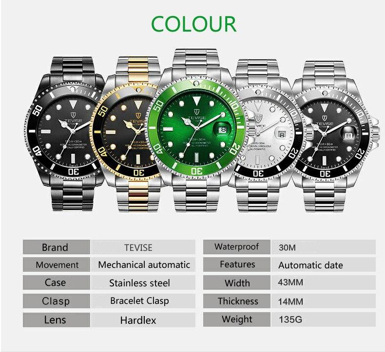 homens relógio mecânico automático moda de luxo