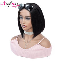 Nafun 4x4 Lace Closure Wig Human Hair Wigs Peruvian Remy Hair Straight Bob Lace Wigs For Black Women Short Human Hair Wigs(China)