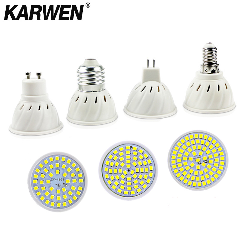 KARWEN  MR16 GU10 E27 E14 Lampada LED Bulb 220V 240V Bombillas LED Lamp 48 60 80 LED Spotlight 2835 SMD Lampara Light