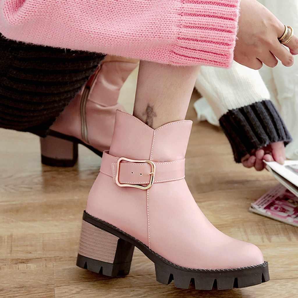 SAGACE แฟชั่นสีดำรองเท้าผู้หญิงส้นฤดูใบไม้ผลิฤดูใบไม้ร่วงเข็มขัด Candy Candy หนารองเท้ารองเท้าผู้หญิงข้อเท้ารองเท้ารองเท้าส้นสูง
