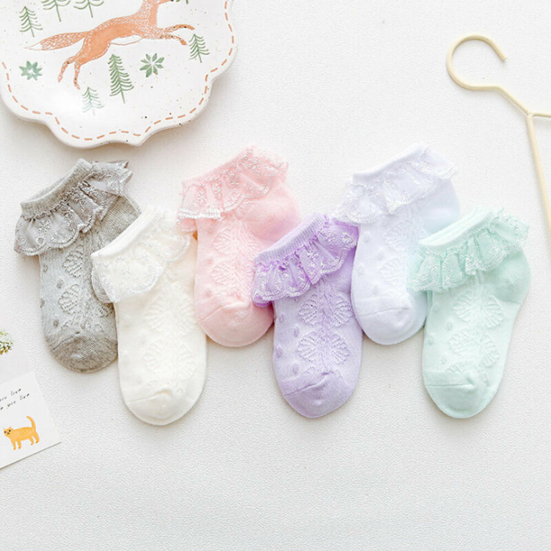 Newborn Baby Socks Cute With TUT Lace Breathable Frill Socks 0-3Y Baby Girl Socks
