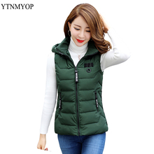 YTNMYOP 2019 Winter Vest Jacket Hooded Vests For Women Sleeveless Coat Outerwear Autumn And Short Waistcoat Female