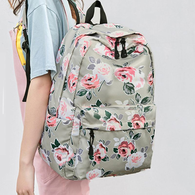 3pcs Floral Backpack Set Nylon Girls School Bags Daypack Bookbags Lunch Bag Purse