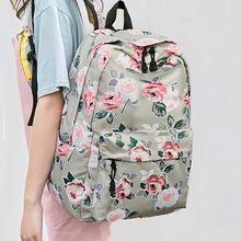 3pcs Floral Backpack Set Nylon Girls School Bags Daypack Bookbags Lunch Bag Purse