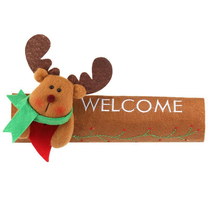 Рождественское украшение на холодильник, дверная ручка, крышка Санта Клауса, снеговика, лося, нетканый материал, для дома, новогодние украшения, подарок - Цвет: Elk