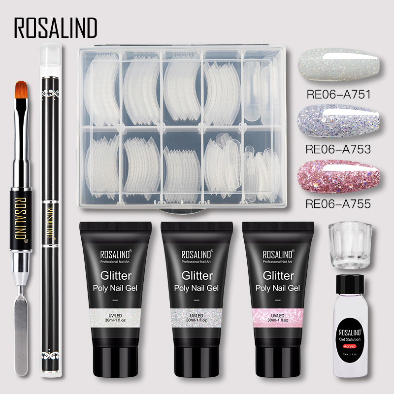 ROSALIND Poly Nail Gel Extension Nail Kit All For Manicure Gel Set Acrylic Solution Water Builder Gel Polish For Nail Art Design 9